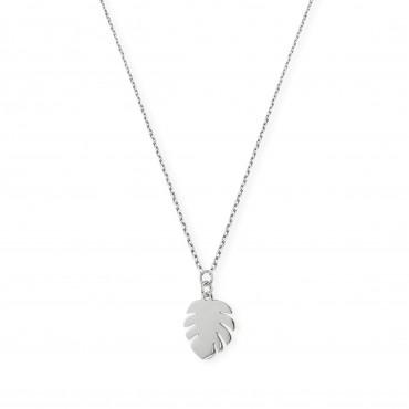 Srebrny naszyjnik liść...